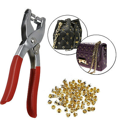 Eyelet Pliers Tool With 100 Eyelets Leather Craft Plier Leather Fabric-Uk Seller