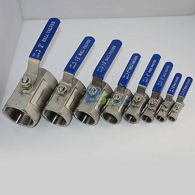 Ball Valve 1Pc Threaded Female Stainless Steel SS 316 NPT CF8M 8 Sizes