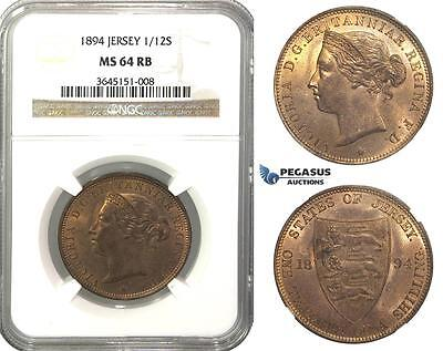 M50, Great Britain, Jersey, Victoria, 1/12 Shilling 1894, NGC MS64RB