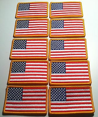 10 USA Flag   Iron On Patch  AMERICAN Military Emblem Gold Border