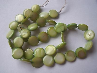 """Mother of pearl shell MOP lime green 10mm flat round coin beads 15"""""""