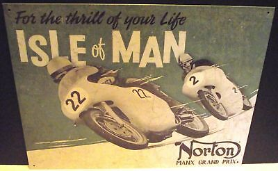 Norton, Isle Of Man  Gran Prix, Metal Sign,  Apo And Fpo Welcome