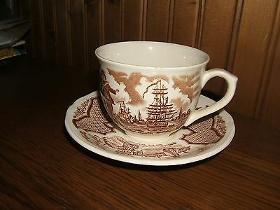 "Fair Winds Alfred Meakin Staffordshire ""Sailors Fairwell"" England Teacup &Saucer"
