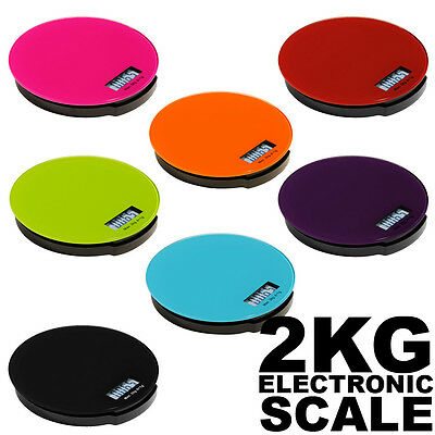 Electronics Digital LCD Kitchen Scales 2 KG, Glass, Flat Assorted Colours