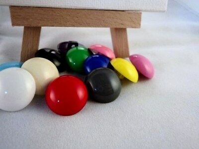 B3 - 18mm LITTLE HALF BALL DOME SHAPED SHANKED PLASTIC BUTTONS -MANY COLOURS