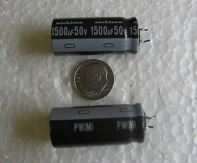 (5) Nichicon PW 1500uF 50V 105°C Long Life Low Impedance Electrolytic Capacitors