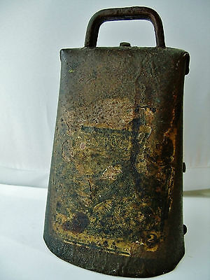 "Antique Cow Bell Sargent LARGE 6 3/8"" Rare Old Vintage Farm Ranch Western"