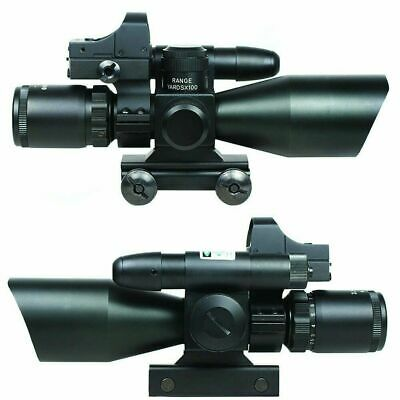 2.5-10X40 Tactical Rifle Scope with Green Laser-Mini Reflex 3 MOA Red Dot Sight