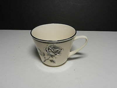 "Lenox China Forever Footed Cup Cream Black Platinum Trim  3"" T TM"