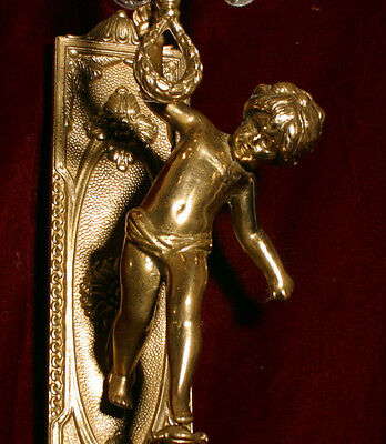 1 Vintage gilt bronze Italy torch figural cherub wall sconce lamp crystal brass