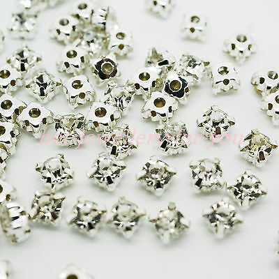Sew on Diamante Rhinestone Crystal Clear Silver Setting Glass Metal Wedding Deco