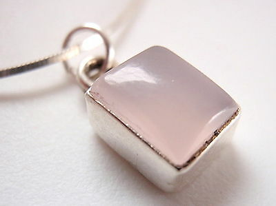 Very Small Rectangular Rose Quartz Necklace 925 Sterling Silver New