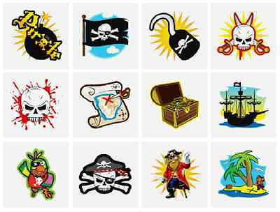 48 x Childrens BOYS Pirate Temporary Tattoos Transfers Party Bag Toys N51 040