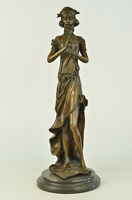 Real Bronze Metal Statue Woman Musician Playing Ancient Banjo Greek Roman Deco
