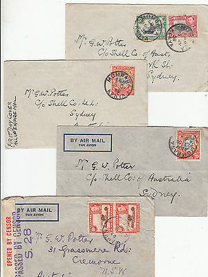 Stamps Uganda Kenya Tanzania 1938-40 KGV1 group 4 covers to Shell Co Australia