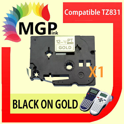 1x Brother Compatible TZ 831 P-Touch Tape 12mm Black on Gold Laminated