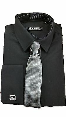 Boys Formal Occasion Smart Shirts With Tie & Cufflinks White,Black,Lilac