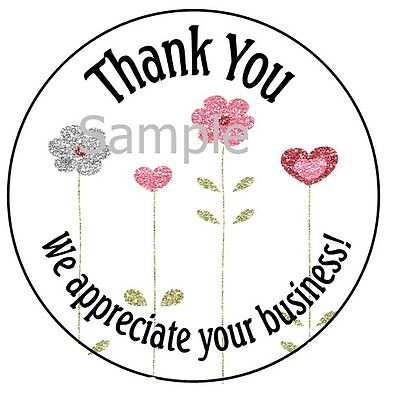 "Thank You - Pretty Flowers #12 ~  1"" Sticker / Seal Labels"