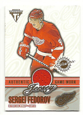 2002-03 PRIVATE STOCK TITANIUM SERGEI FEDOROV GAME WORN JERSEY CARD /561