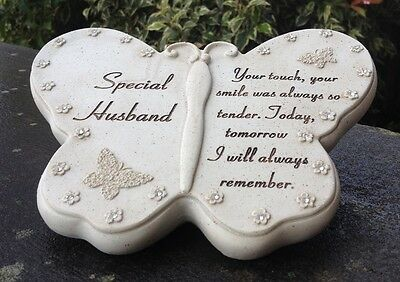 Memorial For Special Husband Butterfly Shaped Grave Ornament Funeral Tribute