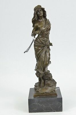 Neoclassical Bronze Chained Lady Sculpture Marble Base - Captive by Godard Decor
