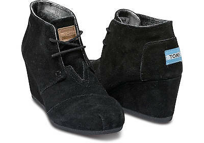 Toms ® Desert Wedges Black Suede Women Heels **authentic And New In Box**