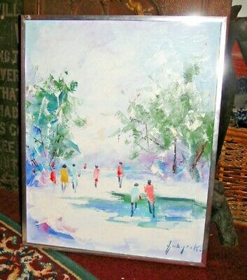 Superb Oil Painting On Canvas-Winter Scene-Signed-People Walking On Ice Pond-WOW