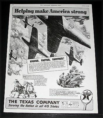 1942 Old Wwii Magazine Print Ad, Texaco, Helping Make America Strong, Plane Art!
