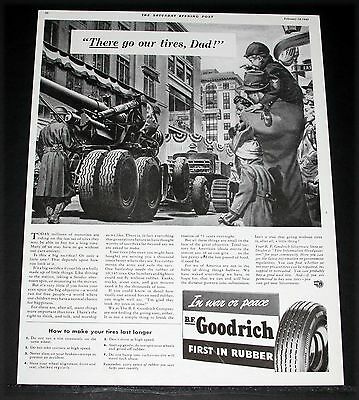 1942 OLD WWII MAGAZINE PRINT AD, GOODRICH, MAKE YOUR TIRES LAST LONGER, WAR ART!