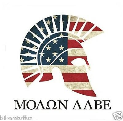 Molon Labe American Flag Greek Spartan Sticker With White Background