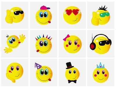 24 x Childrens Happy Smiley Face Temporary Tattoos Transfers Party Toys N51 043