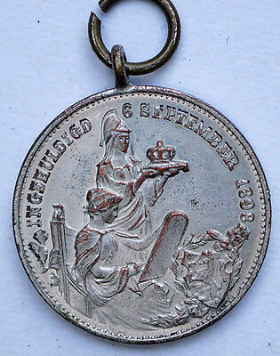 1898 Netherlands Queen  Wilhelmina Coronation Medal Silvered Copper Rare AU