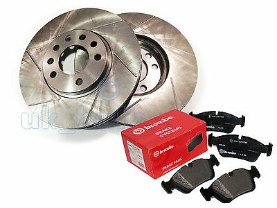 Grooved Rear Brake Discs + Brembo Pads For Renault 19 Ii 1.4  (B/c532) 1992-95