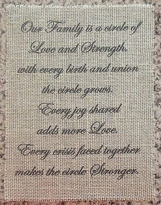 Primitive Sage Green Burlap Family Love Strength Banner Panel Sign Wedding NEW