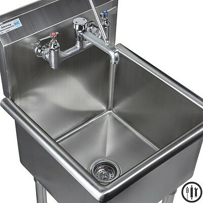 "Stainless Steel Mop Sink and Service Sink Faucet Package- 18"" x 18"" Sink NSF"