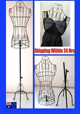 Black Female Mannequin Torso Metal Wire Adjustable Height Fashion Shop Model WMQ