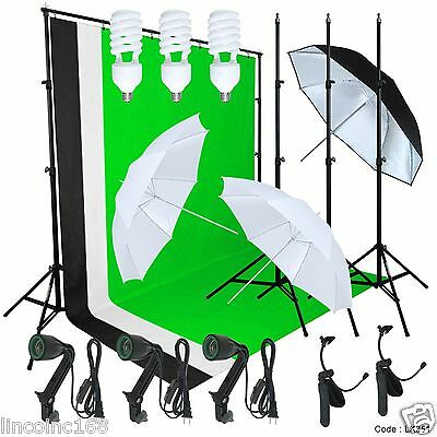 Linco Studio Lighting Photography 3 Muslin Backdrop Light Stand Kit
