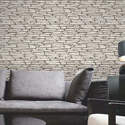 WHITE & SILVER SLATE STONE EFFECT WALLPAPER ROLLS - FINE DECOR FD31292 10m NEW