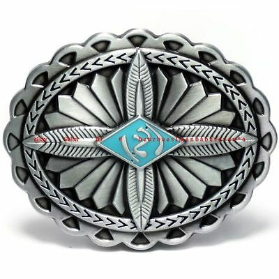Hbu2018 Native American Navajo Indian Feather Floral Ornaments Belt Buckle