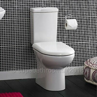 Short Projection WC Compact Close Coupled Toilet Pan, Cistern & Soft Close Seat