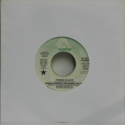 """DIONNE WARWICK & JOHNNY MATHIS 'FRIENDS IN LOVE' US IMPORT 7"""" SINGLE PROMO COPY"""