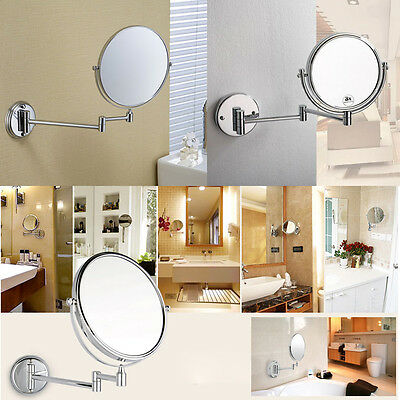 8'' Chrome Wall Mounted Bathroom Double Side Round 10x Magnifying Makeup Mirror