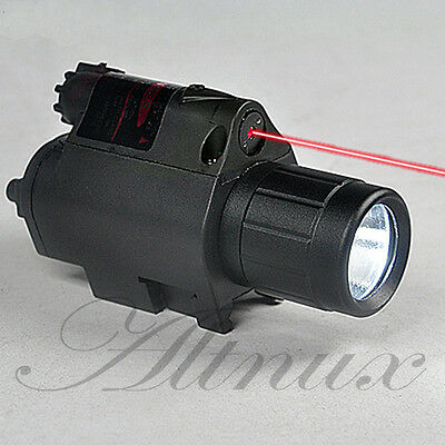 Hunting 650nm Red Dot Laser/sight & Combo CREE LED Flashlight fit pistol gun