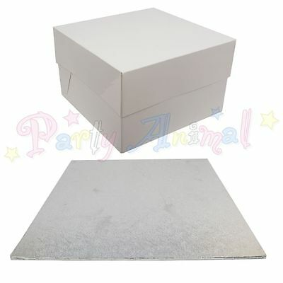 SINGLE Cake Board Thin Hardboard & White Box Pack Set - Wedding Sugarcraft 3mm