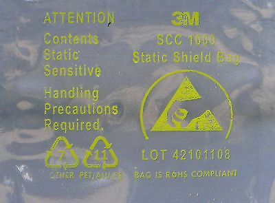 "100 NEW 2"" x 4"" ANTI-STATIC BAGS, SHIELDED, STATIC SHIELDING BAGS 3M SCC 1000 *"