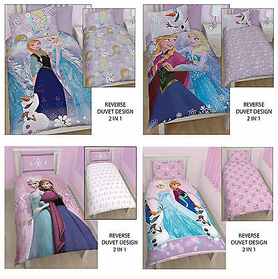 Disney Frozen Crystal Anna Elsa Olaf Single Double Duvet Quilt Bedding Cover Set