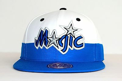 online store a55cd c8361 NBA ORLANDO MAGIC Mitchell   Ness G058 HWC White Blue Fitted Hat Mens Cap  NEW