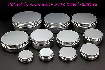 Empty Cosmetic Pot Tin Silver Container 15-250 ml Screw lid Jar EPE inserts