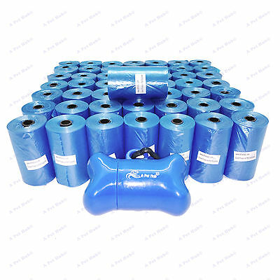 1000 BLUE DOG POOP BAGS DOGGY WASTE REFILL ROLLS w/BONE DISPENSER FREE SHIPPING