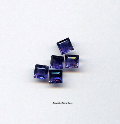 Semi Precious Natural Untreated 5mm Loose Iolite Faceted Square For One
